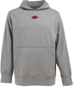 Arkansas Mens Signature Hooded Sweatshirt (Color: Gray) - XX-Large