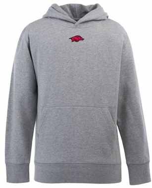 Arkansas YOUTH Boys Signature Hooded Sweatshirt (Color: Silver)