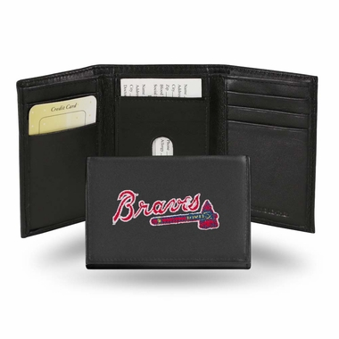 Atlanta Braves Embroidered Leather Tri-Fold Wallet