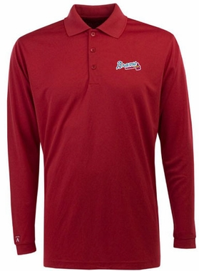 Atlanta Braves Mens Long Sleeve Polo Shirt (Color: Red)