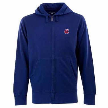 Atlanta Braves Mens Signature Full Zip Hooded Sweatshirt (Cooperstown) (Color: Navy)