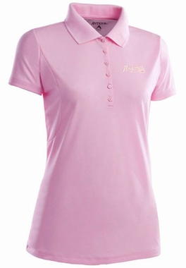 Atlanta Braves Womens Pique Xtra Lite Polo Shirt (Color: Pink) - Small