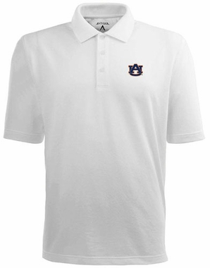 Auburn Mens Pique Xtra Lite Polo Shirt (Color: White)