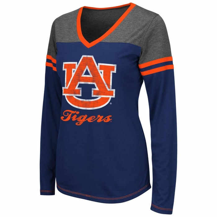 Auburn tigers womens zeta football long sleeve v neck t for Auburn tigers football t shirts