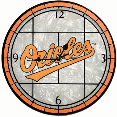Baltimore Orioles Art Glass Clock