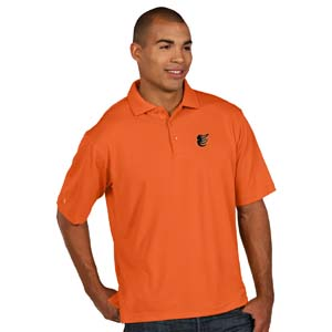 Baltimore Orioles Mens Pique Xtra Lite Polo Shirt (Color: Orange) - Small