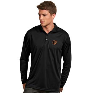 Baltimore Orioles Mens Long Sleeve Polo Shirt (Color: Black) - XX-Large