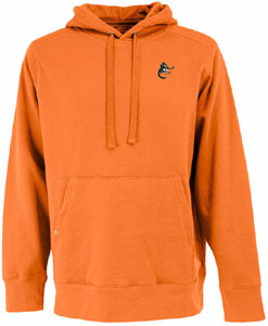 Baltimore Orioles Mens Signature Hooded Sweatshirt (Cooperstown) (Color: Orange) - Small