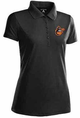 Baltimore Orioles Womens Pique Xtra Lite Polo Shirt (Cooperstown) (Color: Black)