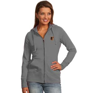 Baltimore Orioles Womens Zip Front Hoody Sweatshirt (Color: Gray) - Small