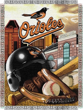 Baltimore Orioles Woven Tapestry Throw Blanket