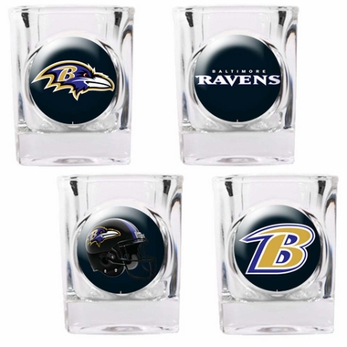 Baltimore Ravens 4 Piece Assorted Shot Glass Set