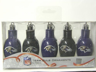 Baltimore Ravens 5 Pack Bulb Ornaments