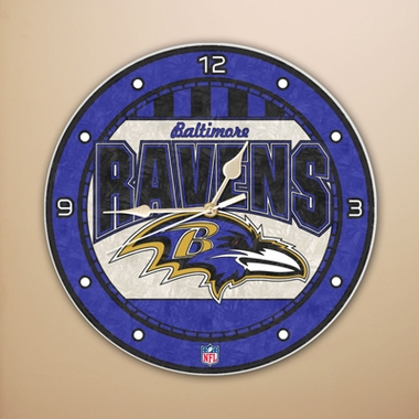 Baltimore Ravens Art Glass Clock