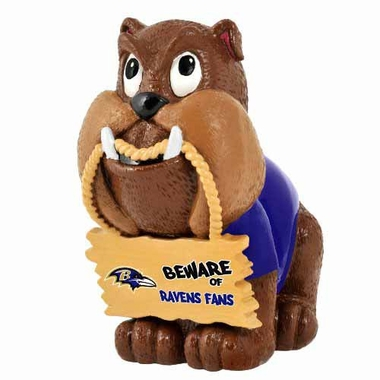 Baltimore Ravens Bulldog Holding Sign Figurine