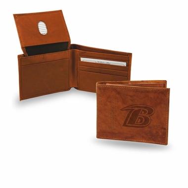 Baltimore Ravens Embossed Leather Bifold Wallet