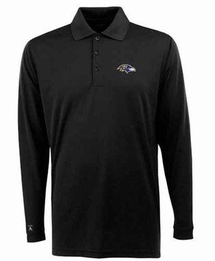 Baltimore Ravens Mens Long Sleeve Polo Shirt (Color: Black)