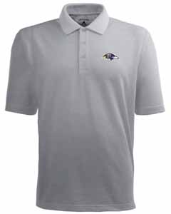 Baltimore Ravens Mens Pique Xtra Lite Polo Shirt (Color: Gray) - Small
