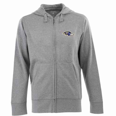 Baltimore Ravens Mens Signature Full Zip Hooded Sweatshirt (Color: Gray)