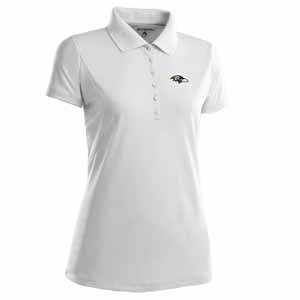 Baltimore Ravens Womens Pique Xtra Lite Polo Shirt (Color: White) - Large