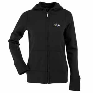 Baltimore Ravens Womens Zip Front Hoody Sweatshirt (Color: Black) - X-Large