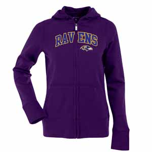 Baltimore Ravens Applique Womens Zip Front Hoody Sweatshirt (Color: Purple) - Large
