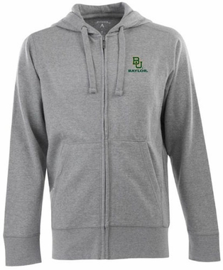 Baylor Mens Signature Full Zip Hooded Sweatshirt (Color: Silver)