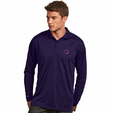Boise State Mens Long Sleeve Polo Shirt (Color: Blue)