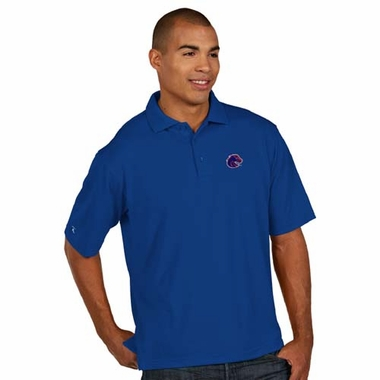 Boise State Mens Pique Xtra Lite Polo Shirt (Color: Blue)