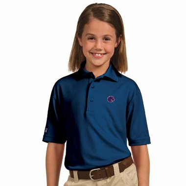 Boise State YOUTH Unisex Pique Polo Shirt (Color: Blue)