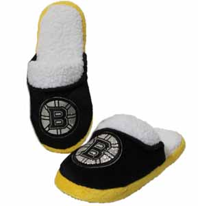 Boston Bruins 2012 Womens Team Color Sherpa Glitter Slippers - Small