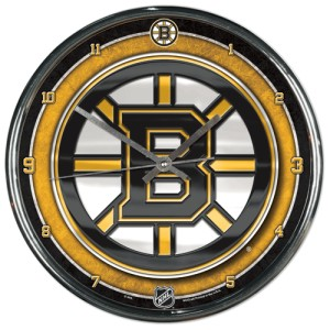 Boston Bruins Round Chrome Wall Clock