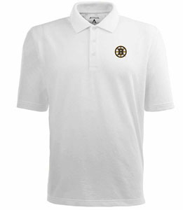 Boston Bruins Mens Pique Xtra Lite Polo Shirt (Color: White) - X-Large