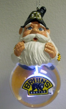 Boston Bruins Light Up Gnome Snow Globe Ornament