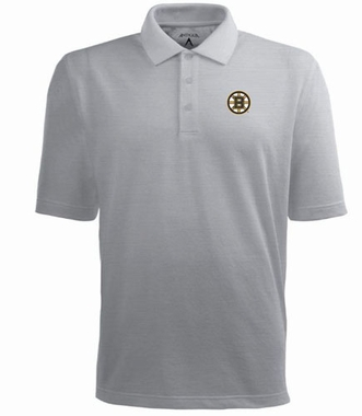 Boston Bruins Mens Pique Xtra Lite Polo Shirt (Color: Gray)