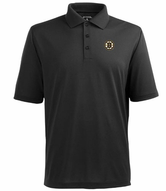 Boston Bruins Mens Pique Xtra Lite Polo Shirt (Color: Black)