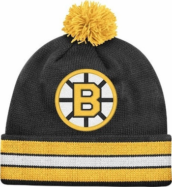 Boston Bruins Vintage Jersey Stripe Cuffed Knit Hat w/ Pom