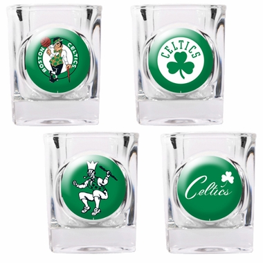Boston Celtics 4 Piece Assorted Shot Glass Set