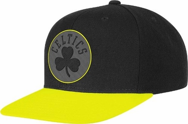 Boston Celtics Adidas Neon Brim Snap Back Hat (Yellow)