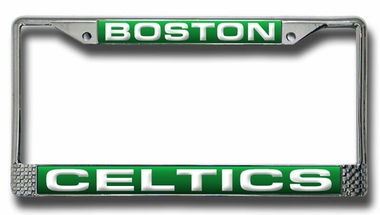 Boston Celtics Laser Etched Chrome License Plate Frame