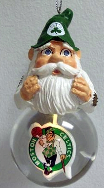 Boston Celtics Light Up Gnome Snow Globe Ornament