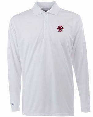 Boston College Mens Long Sleeve Polo Shirt (Color: White)