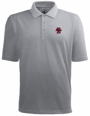 Boston College Mens Pique Xtra Lite Polo Shirt (Color: Gray)