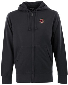 Boston College Mens Signature Full Zip Hooded Sweatshirt (Color: Black) - Small