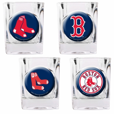 Boston Red Sox 4 Piece Assorted Shot Glass Set