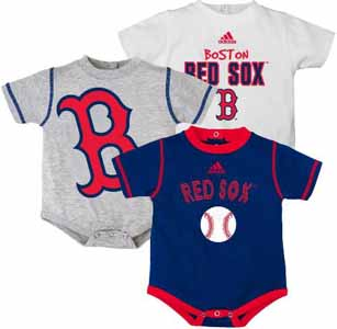 Boston Red Sox Adidas 3 Pack Bodysuit Creeper Set - 3-6 Months
