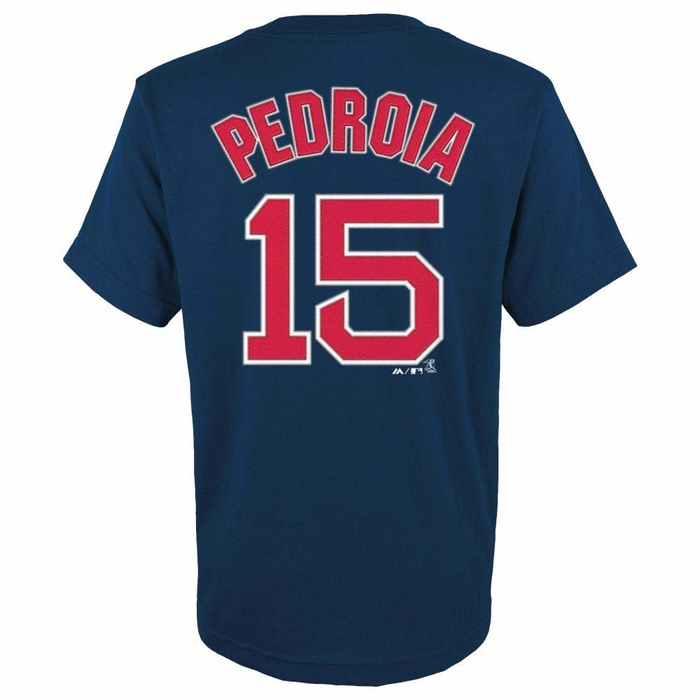 Boston red sox dustin pedroia youth majestic player navy t Red sox player t shirts