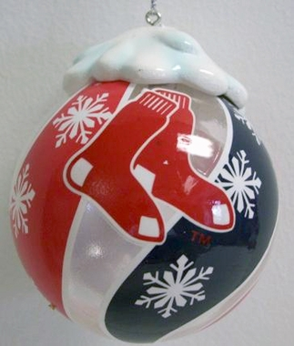 Boston Red Sox Light Up Glass Ball Ornament