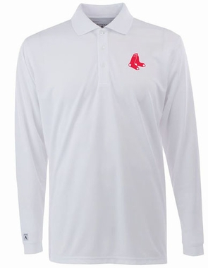Boston Red Sox Mens Long Sleeve Polo Shirt (Color: White)