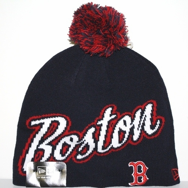 Boston Red Sox New Era Script Freeze Cuffless Knit Hat